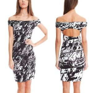 Helmut Lang Black Meteor Print Cutout Fitted Dress